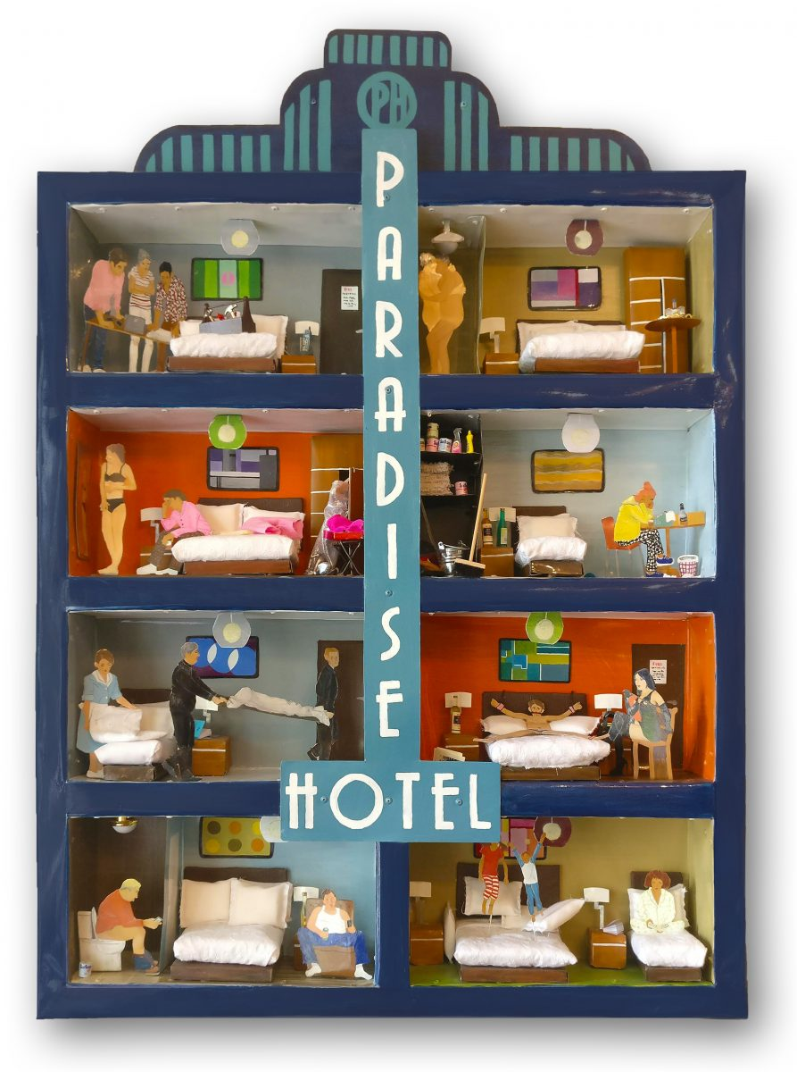 Painted metal wall piece entitled Paradise Hotel