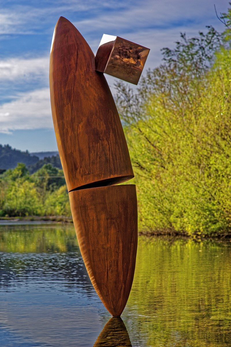 Corten and stainless abstract sculpture