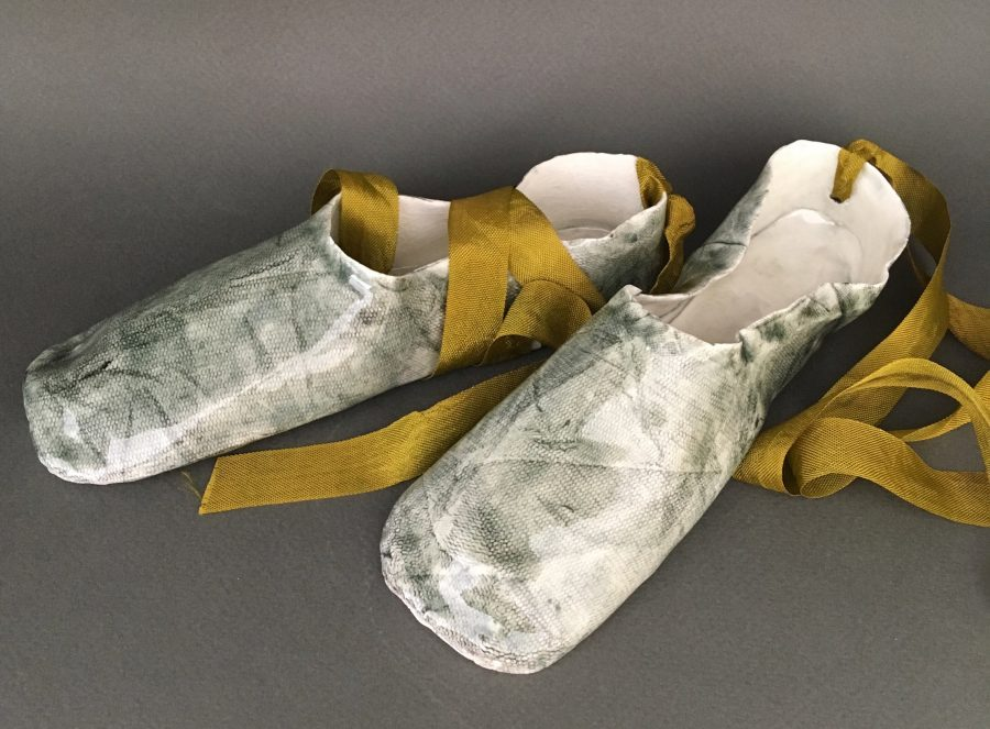 Fine porcelain grey ballet shoes with gold ribbons