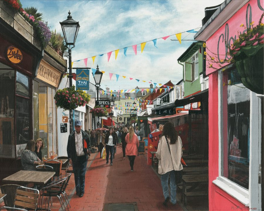 A painting of Kensington Gardens, a busy shopping street in Brighton