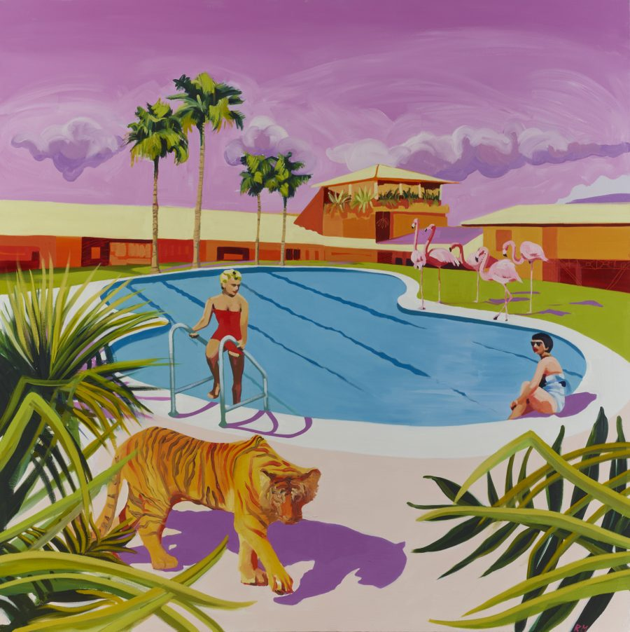 Pink Tiger around pool with palm trees