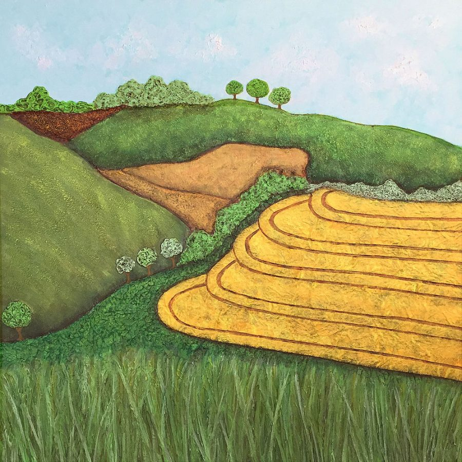 A vibrant highly textured collage and mixed media painting on canvas of the South Downs