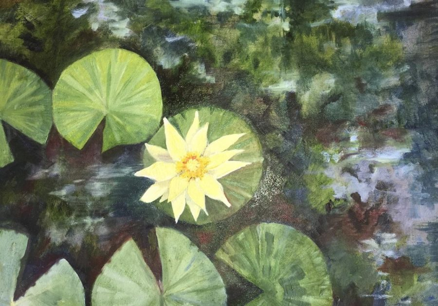Oil Painting of a lotus flower on water