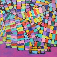 brightly coloured  grid pattern
