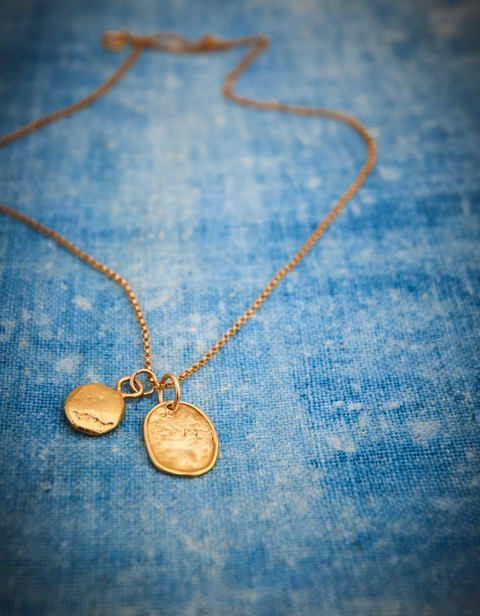 Handmade gold honesty petal and small pebble necklace