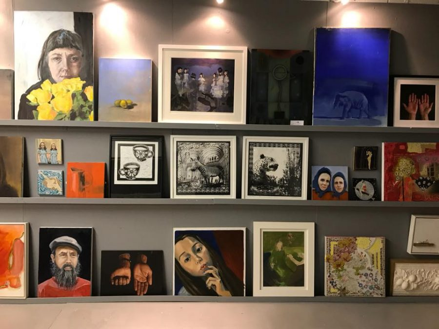 Image of gallery wall with artists work