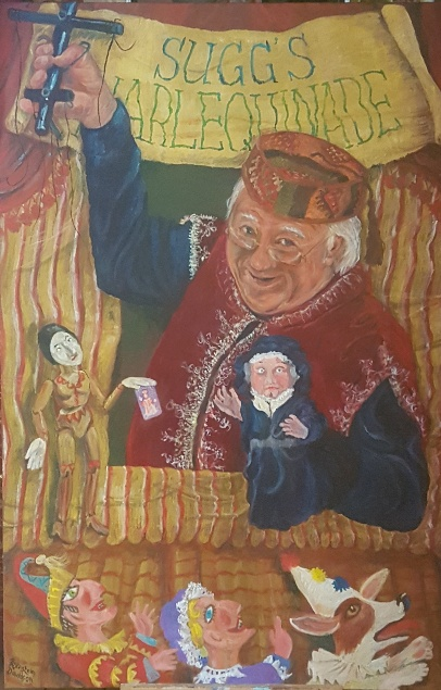Philip Sugg is portrayed with a marionette holding a tarot catd in phe hamd and a glove puppet in the other. Below the procenium front   Mr Punch, Judy and dog Toby lool om