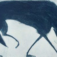 A screen print of a  large Blue Wolf set on a pale blue background. The animal is almost escaping the frame.