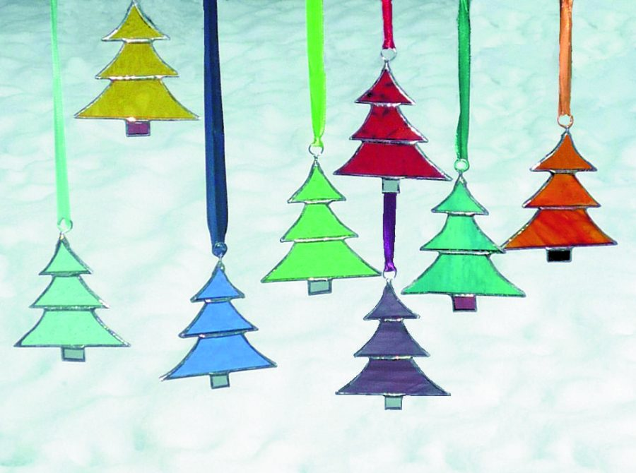 Colourful handmade stained glass Christmas tree hangings