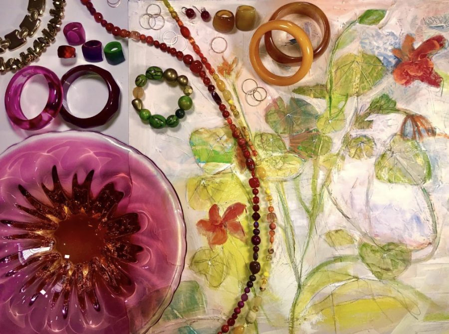 a collage made using an oil painting of nasturtiums over laid with jewellery a plum coloured glass bowl