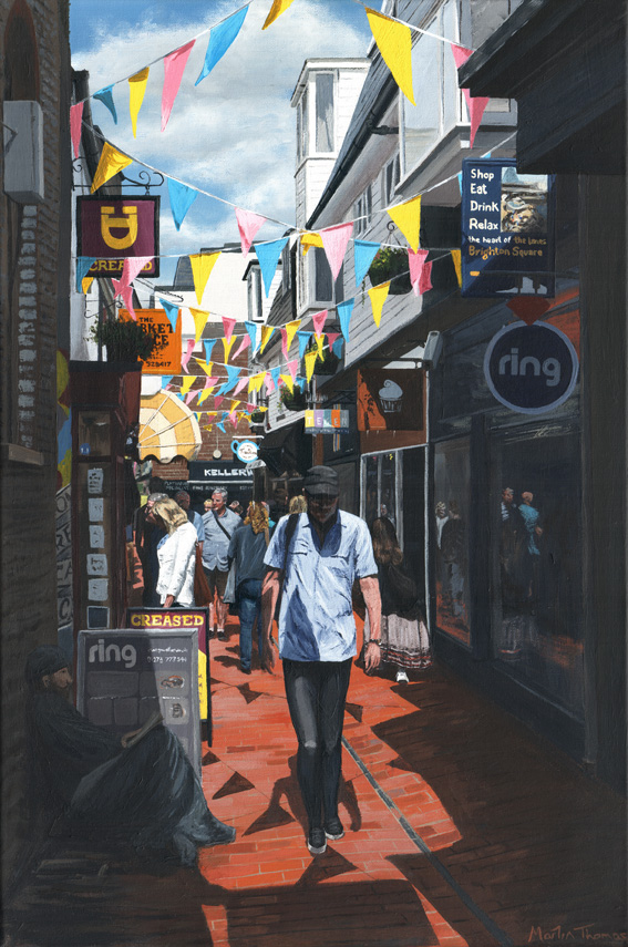 A painting of people walking through the Lanes in Brighton