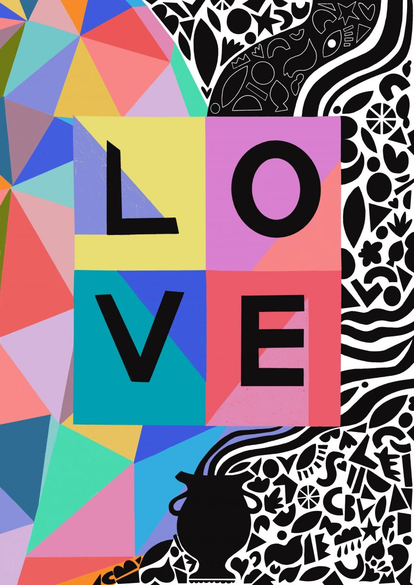 A vibrant and colourful design featuring the word LOVE. Triangular sections of colour mirrored with black shapes and patterns.