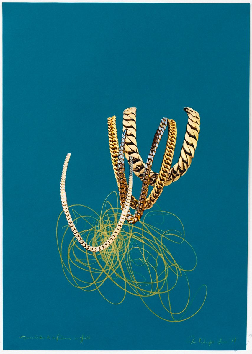 Collage & pencil on teal heavyweight paper with image of 4 different golden chains.