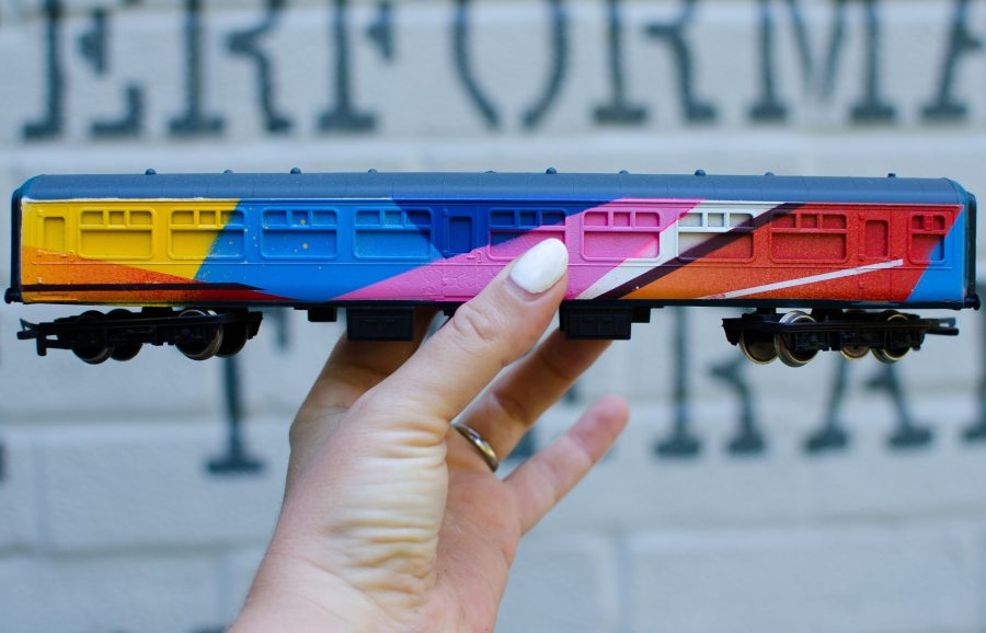 Abstract painted model train