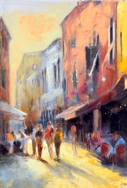 A painting of people walking down a narrow street in Venice past restaurants on either side.