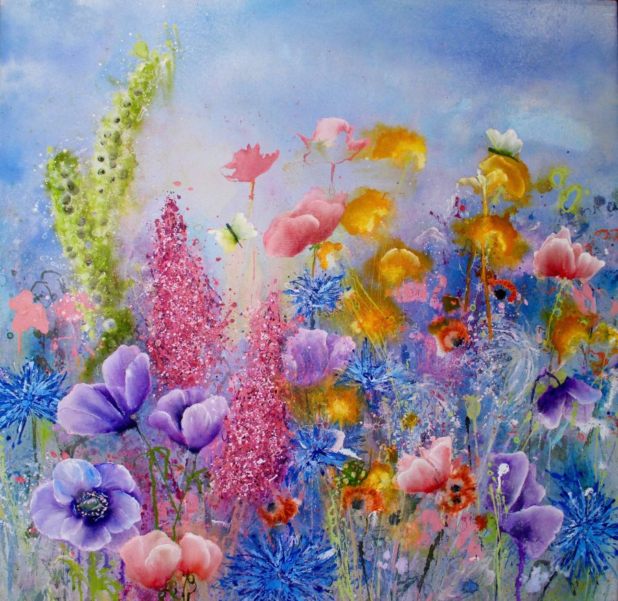 Softly, Softly is a magical floral scene with vibrant blues, pinks and golds with two cabbage white butterflies wistfully flying around.