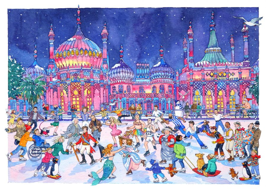Skaters in Winter infront of the Brighton pavilion