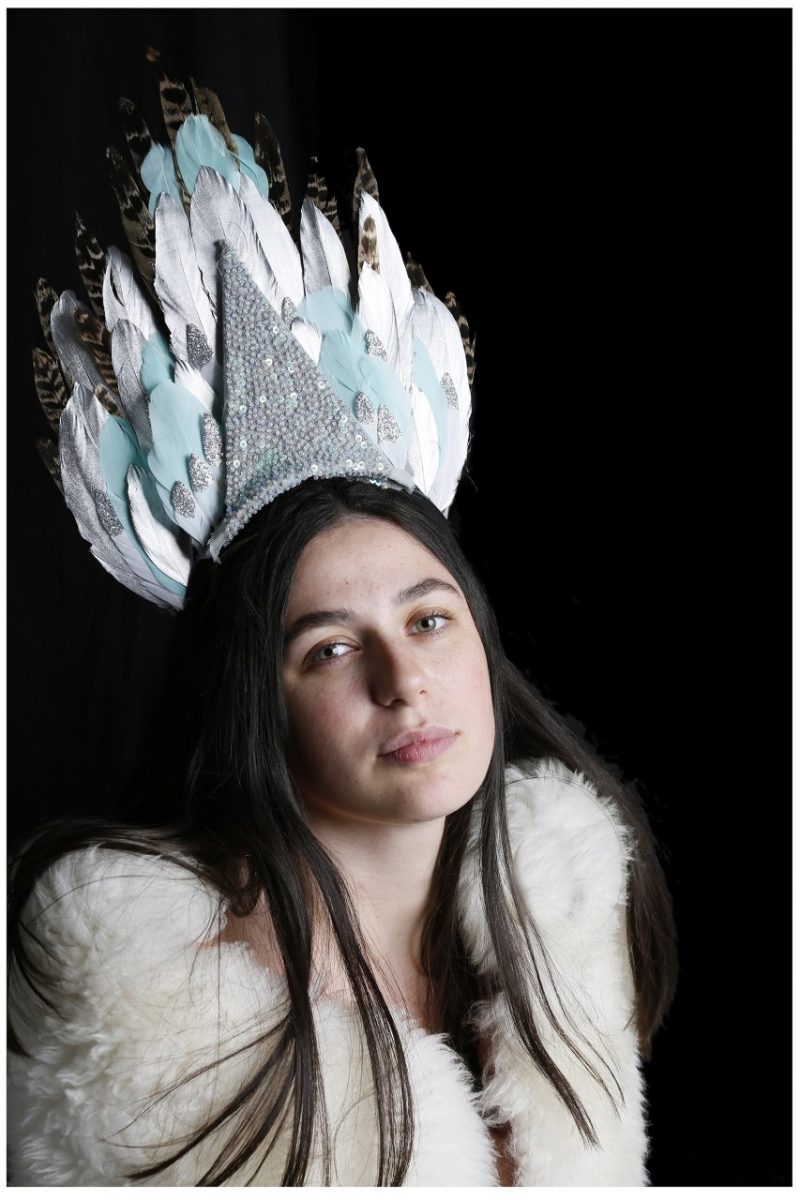 A head dress made from feathers