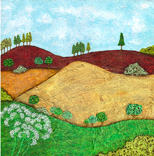 Impasto and collage Acrylic Painting of the South Downs