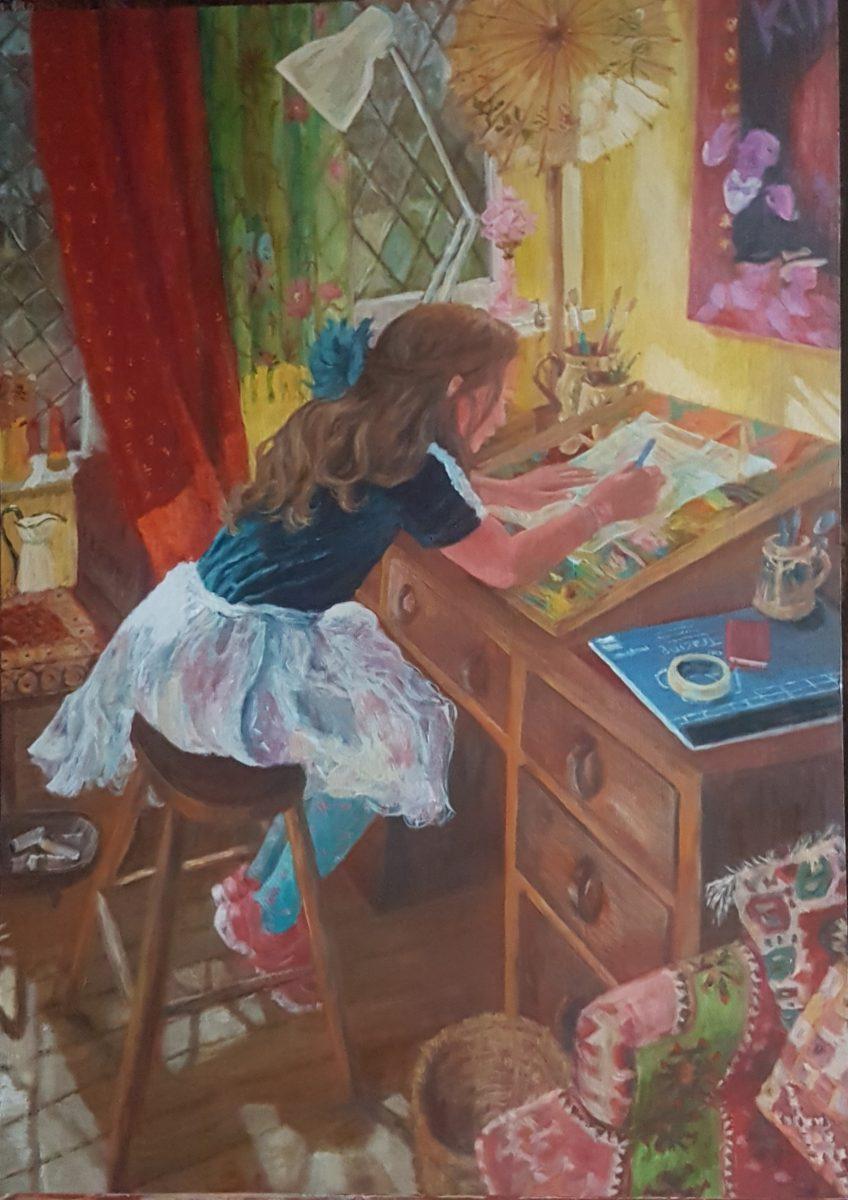 Girl drawing at my art desk