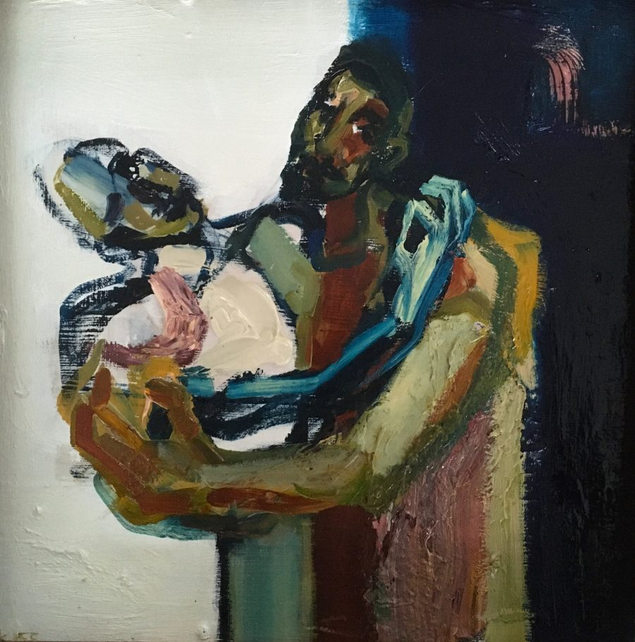a figurative  oil painting on wood panel with two figures entwined.