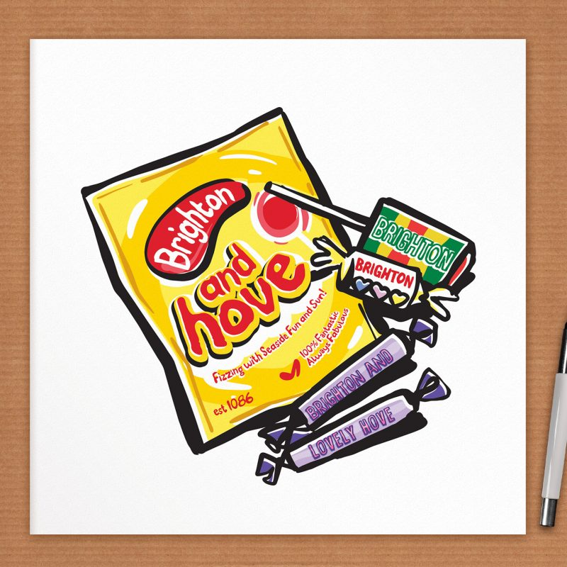 An art print of classic sugary sweets, humorously reworked with a Brighton and Hove theme