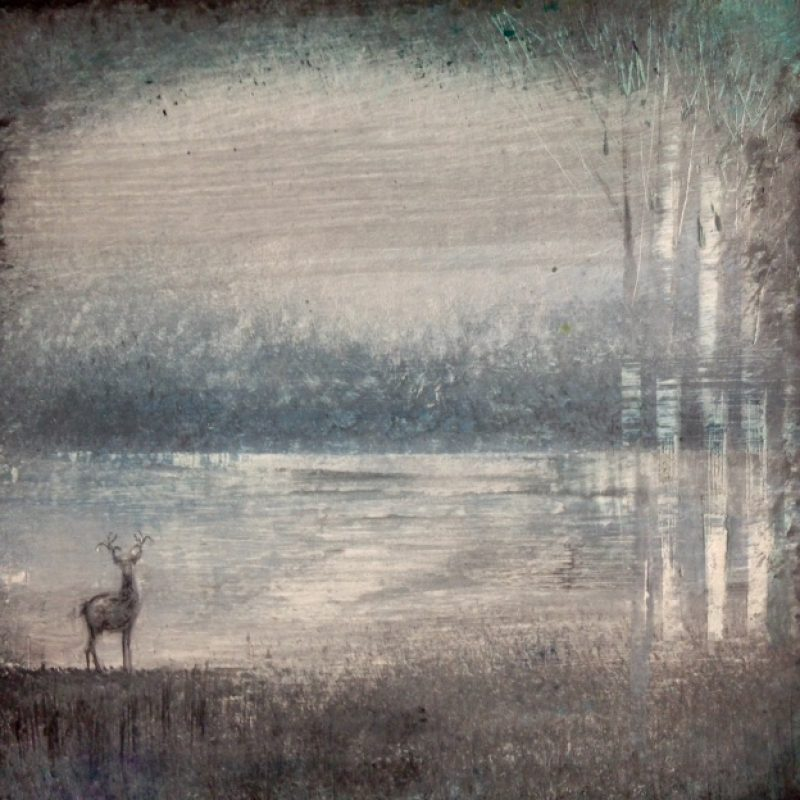 A watercolour painting of a Stag in the wilderness