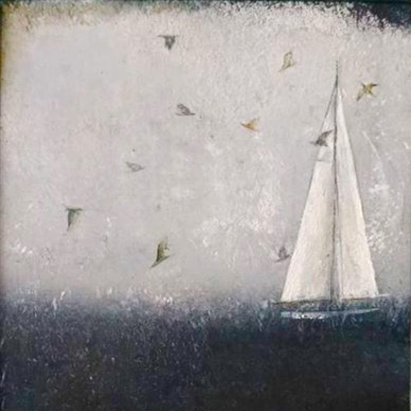 A painting of a sailing boat