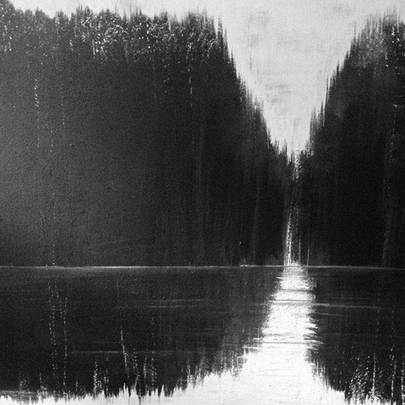 A painting of dark woods and water