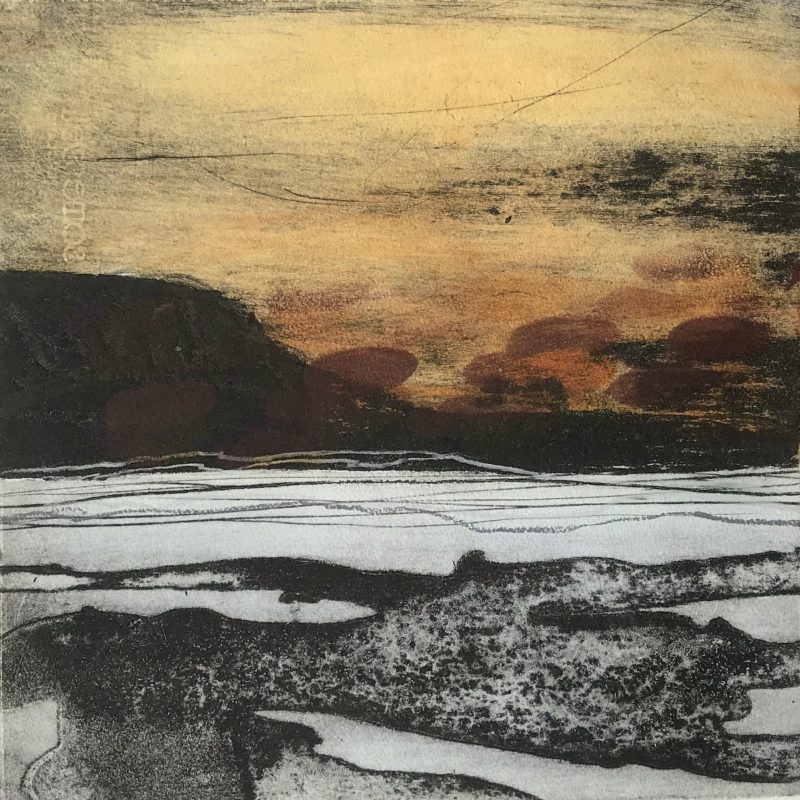 Mixed media incorporating intaglio printing, relief printing, and hand drawing. Somerset paper with four deckled edges floating inside a bigger deep cut mount. Image  34cm x 34.5cm Extra deep, museum-quality, off white mount (will never discolour). 50cm x 50cm