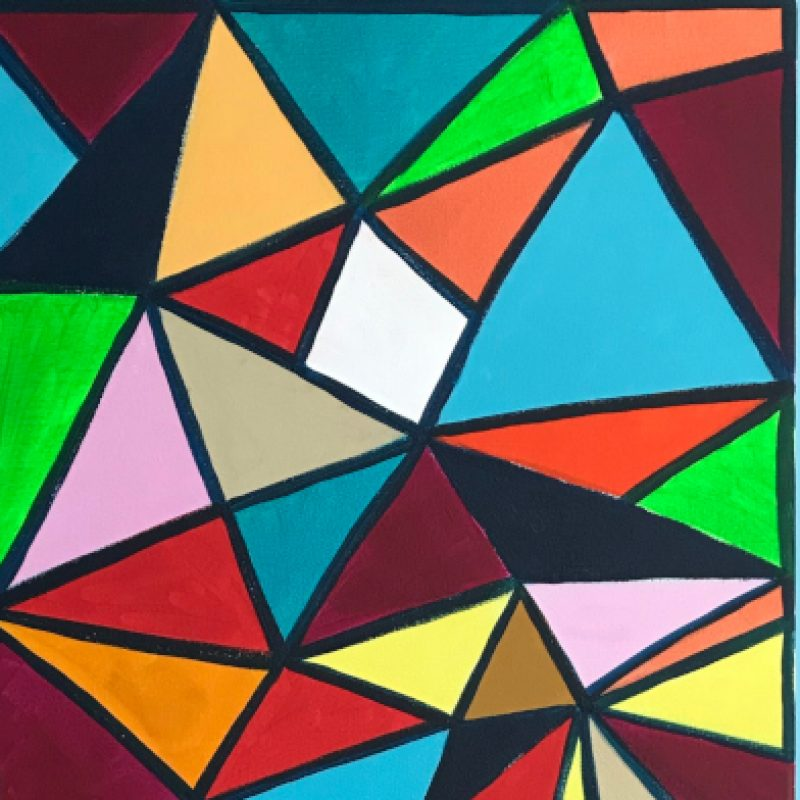 A painting of colourful triangles