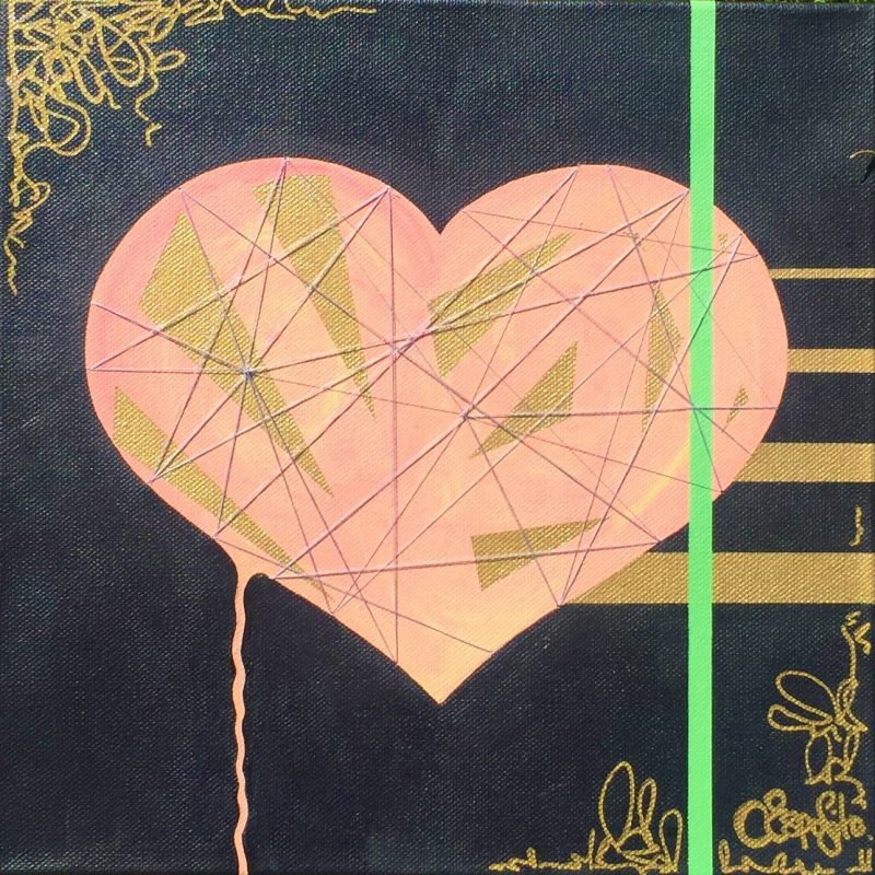 A black painting with a large central pink heart and gold shards, with modern gold and green lines / stripes. A contemporary painting produced during lockdown.