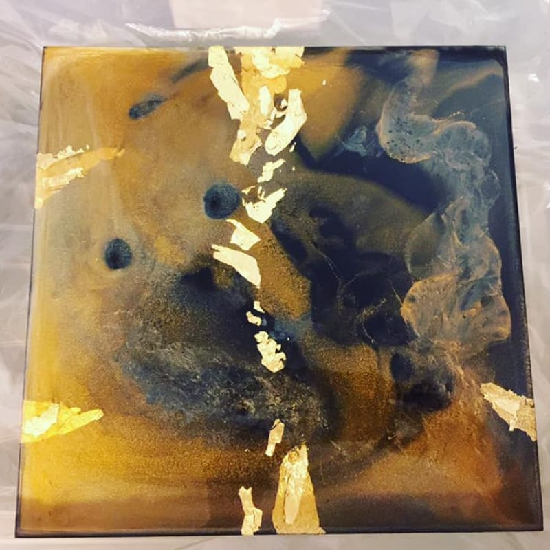 Small scale abstract piece made from acrylic paint, gold leaf and resin. A beautifully fluid artwork with touches of gold leaf.