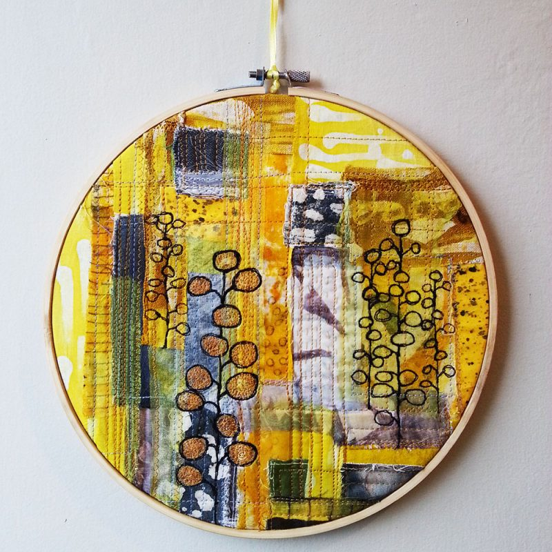Textiles, Mixed Media & Embroidery. Framed Textile Artwork in Embroidery Hoop. 24cm Dia