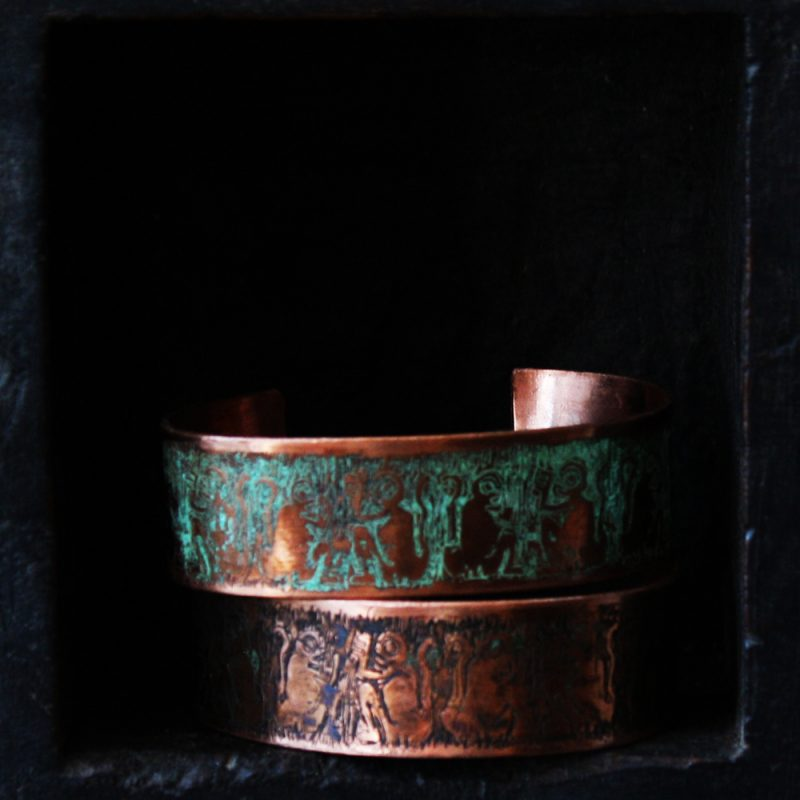 Copper Etched Cuffs 20mm in Verdigris or Antiqued