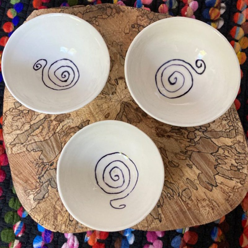 White Porcelain Bowls with Blue Underglaze. Slight variations in sizes. Approx 6cm H x 14cm Dia.