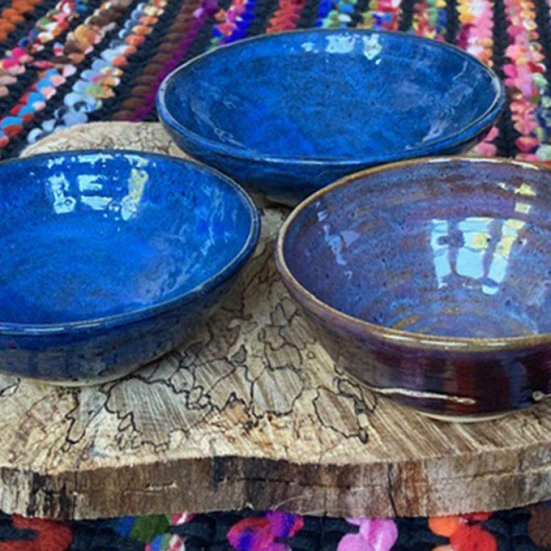 Wabisabi Stoneware Noodle Bowl in Blue Rutile Glazes. Approx 9cm H x 18cm Dia.