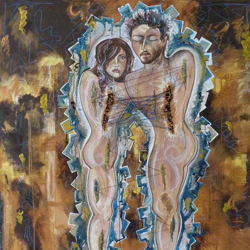 Contemporary figurative with a a man and woman connected by strings, painted in deep brown and gold hues.