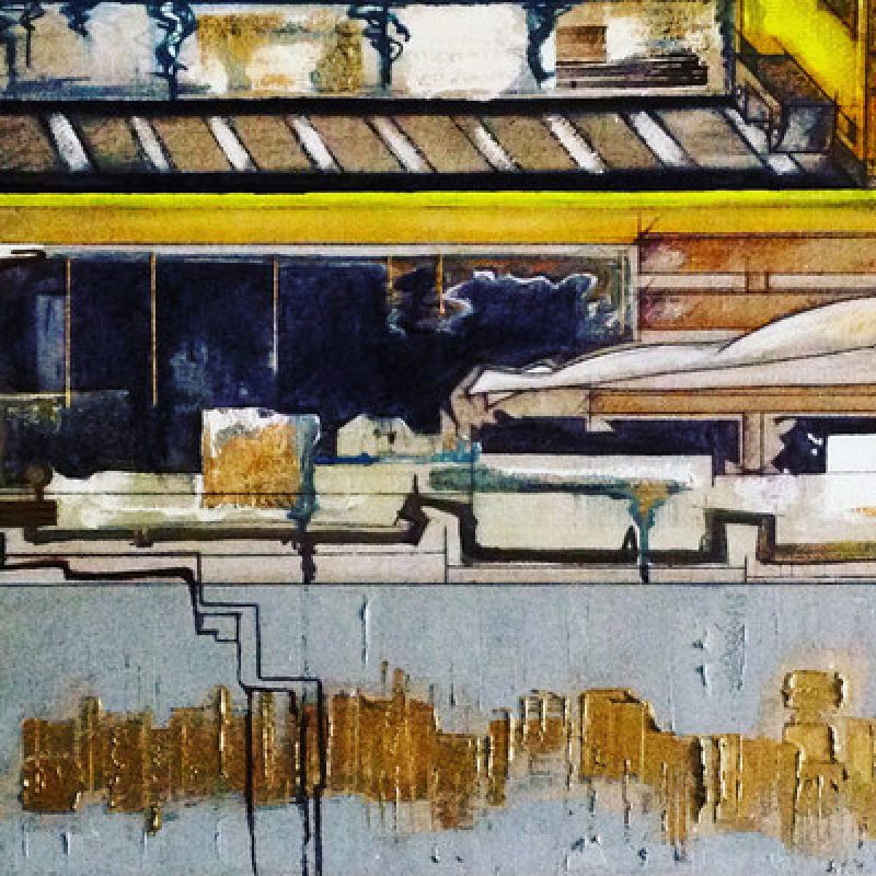 Modern urban figurative painting in black, yellow and grey.