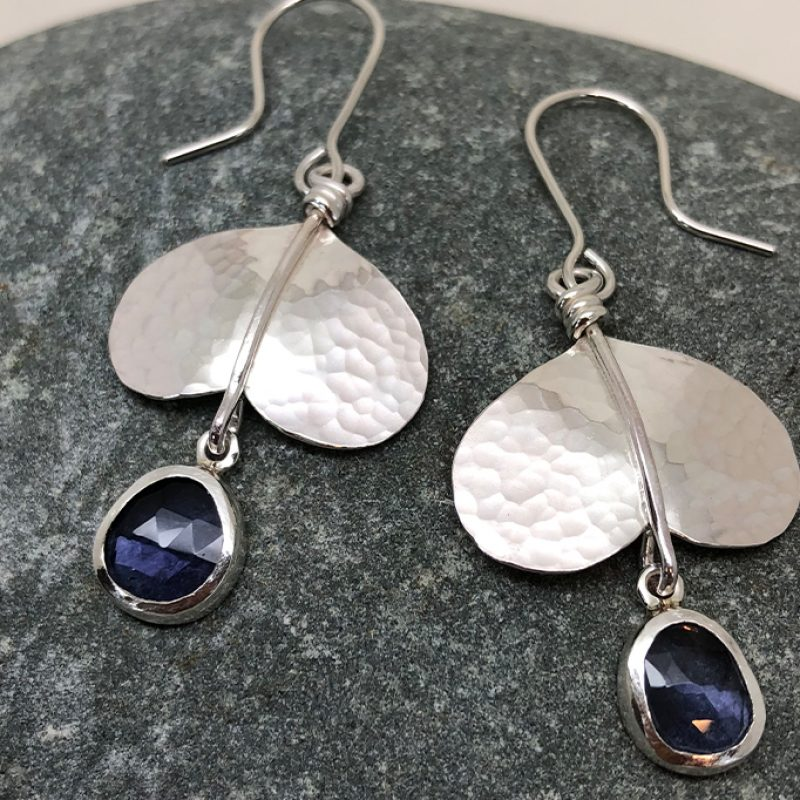 sterling silver earrings with with faceted iolite