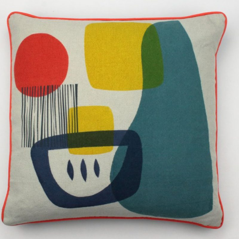 Square printed cushion with bold modernist print