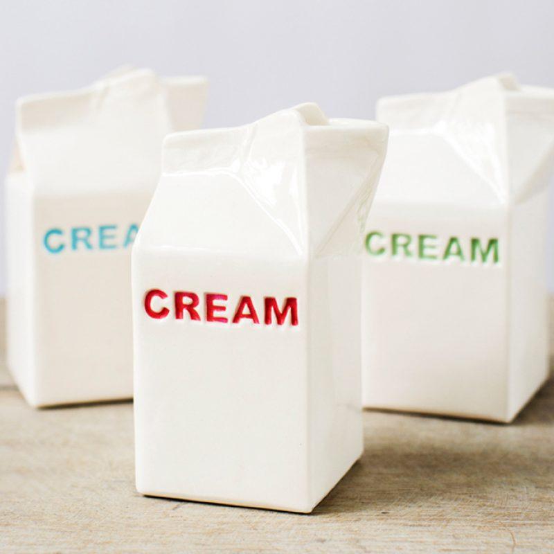 ceramic cream jugs shaped like tetra pack carton