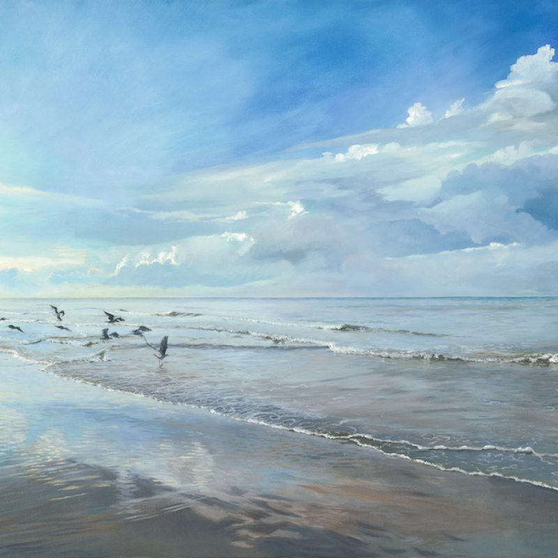 A beach at low tide with clouds reflected in the wet sand and seagulls having breakfast in the shallow ends of the waves