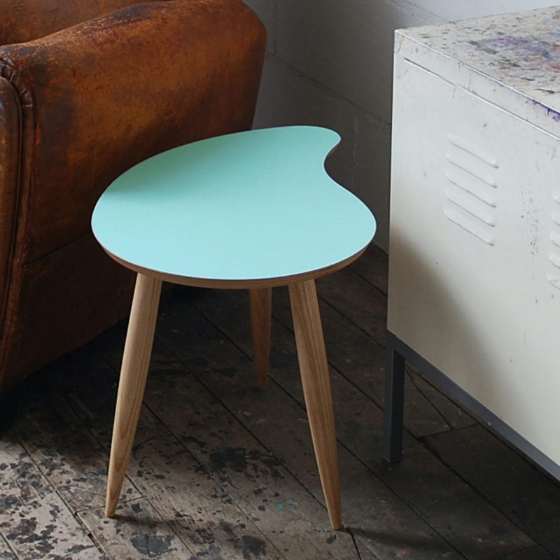 The Curvetop Comma is a super small side table, 40 cm high, with a curved shape similar to a Comma punctuation mark, from where it gets its name. Designed to work beside a chair or small sofa, it's ideal for a snug personal space where you want to sit and chill with a cuppa by your side. Glacier is a new colour for 2020 a cool light blue, also this season we have a choice of Tangerine, Plantagenet Yellow, Scruffed Grey and Smoke Blue.