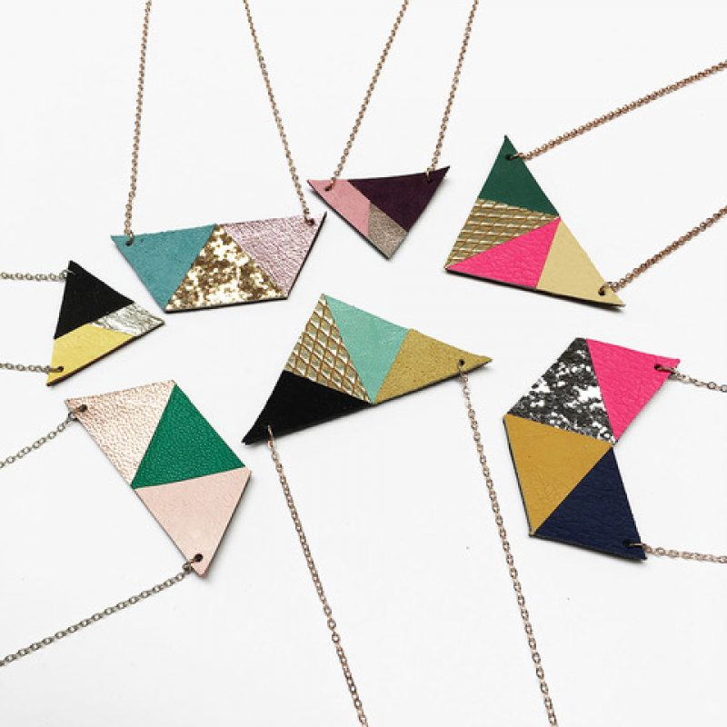 Mix of Leather Geometric Necklaces on fine metal chains