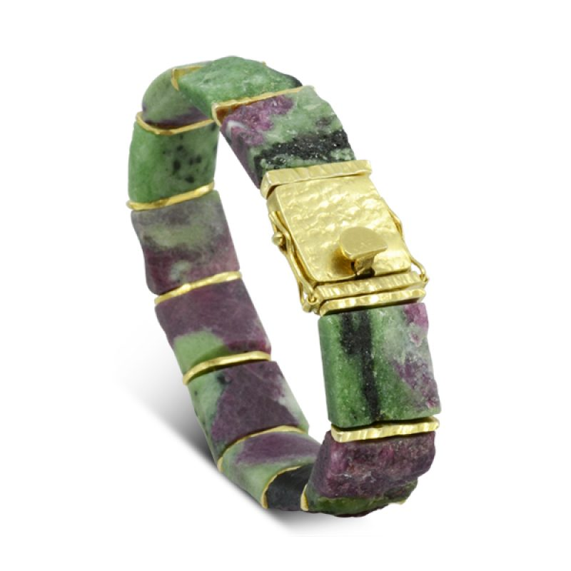 pink and green ruby Zoisite Bracelet with hammered gold plated silver spacers