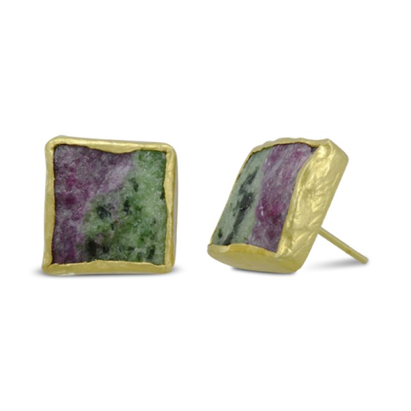 8mm or 12mm squares of Ruby Zoisite framed in hammered gold plated silver