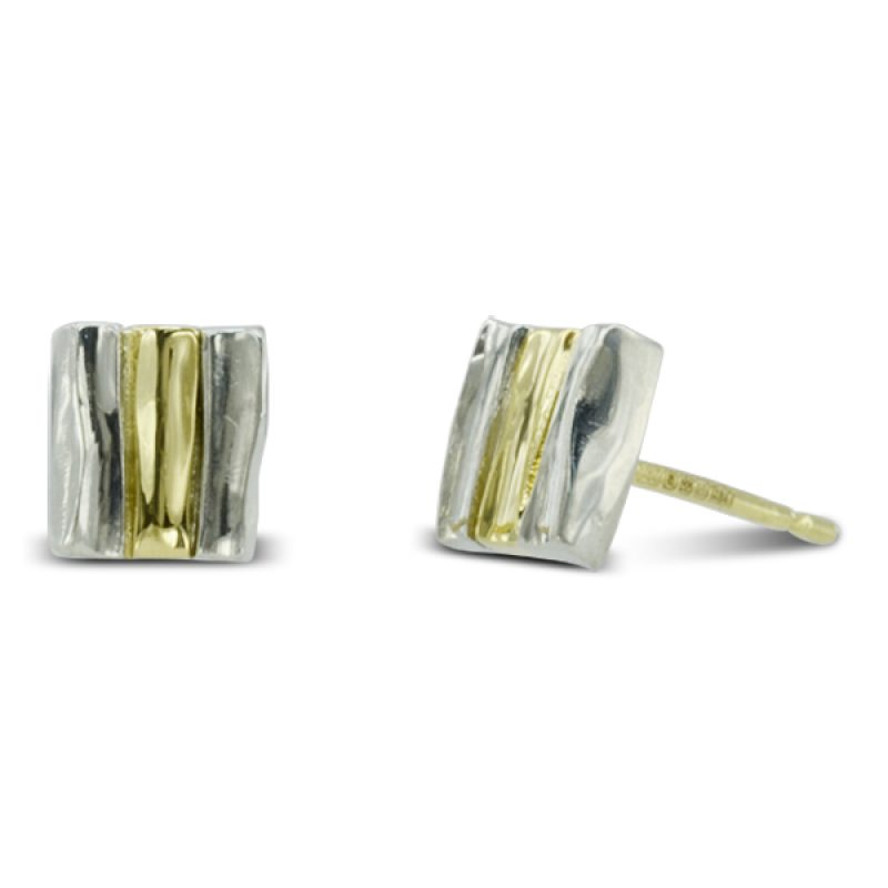 6mm square two colour Side Hammered Earstuds in platinum and 18ct yellow gold with a post and scroll fitting