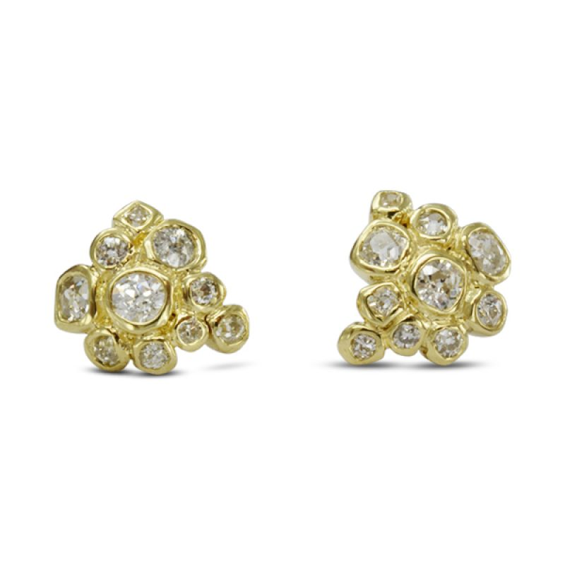 Old Cut Diamond Cluster earstuds made from the 18ct gold and diamonds from a clients old jewellery