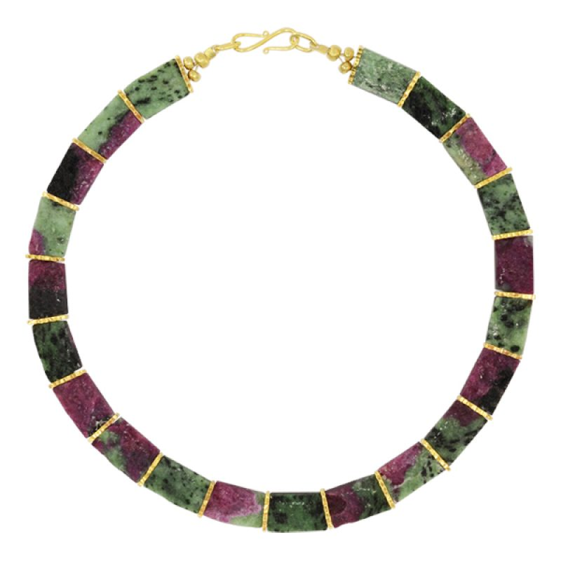 pink and green Ruby Zoisite Collar Necklace with hammered gold plated silver spacers